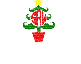 Christmas Tree Monogram SVG Cuttable Design File