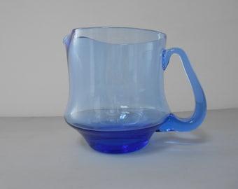 Retro Blue Glass Lemonade Jug / Pitcher 1970s  #10092