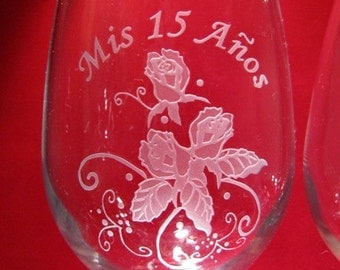 Quinceanera Wine Glasses~ Personalized Quinceanera Wine Glasses~ Qunceanera Glasses~ Quinceanera Wine Glass