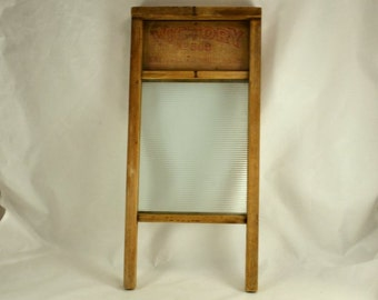 Glass Paneled Primitive Washboard - 1940's Victory National Washboard Co. #508  - Vintage Laundry