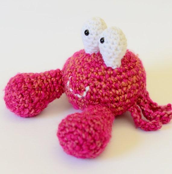 Crochet Amigurumi Crab : Plush Pink Crab Crochet Amigurumi Crab Ocean by ...