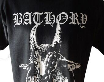 Bathory T-SHIRT Goat Unisex Adults The Return Under The Sign Of The Black Mark Quorthon Black Metal
