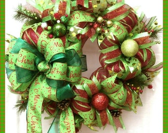 Christmas wreath; Holiday Wreath; Red and lime green deco mesh  with red/green ribbon loops