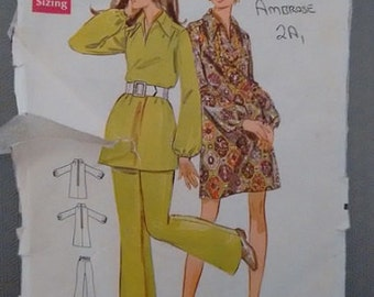 Vintage Butterick 5445 Junior Petite 1970's Sewing Pattern Tunic Top Dress Pants Trousers