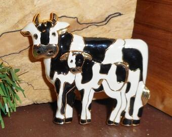Vintage  Figural Brooch, Big Gold Colored Metal Black and White Enamel Cow Brooch