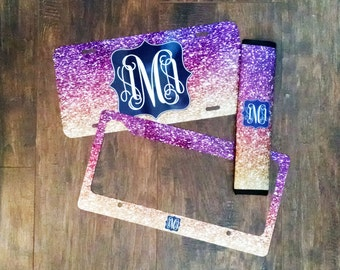 Monogrammed License Plate, Glitter Car Tag, Personalized License Plate Frame, Aqua Glitter, Monogram Seatbelt Cover, Glitter Monogram, Aqua