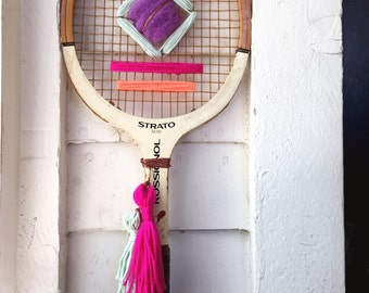 Bright Pastels Vintage Tennis Racket Woven Wall Hanging