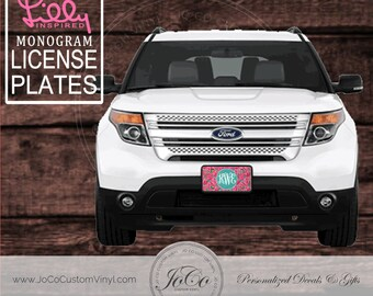 Monogrammed Lilly Pulitzer Inspired Car Tag | Lilly License Plate | Custom Car Tags