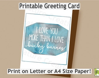 Bucky Barnes Card//The Winter Soldier//Valentine's Day//I love you//Printable//Letter//A4//Instant Download//Marvel//Comic