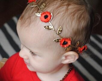 RED POPPY CROWN, flower crown, flower girl, flower child, baby girl crown