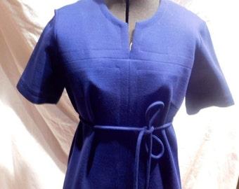 Navy Blue Knit Dress by Leslie Faye