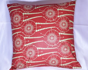 """African Wax Print Pillow Cover; 18""""x18""""; Red Decorative Pillow, African Throw Pillow from Mali (WF1001)"""