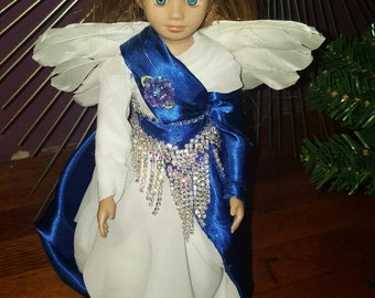 Blue and White Angel Tree Topper