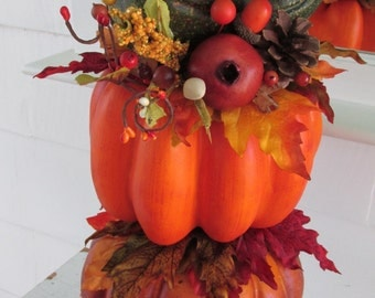 Pumpkin Topiary, Fall Topiary, Autumn Topiary, Thanksgiving Topiary, Fall Décor, Autumn Décor, Shabby Chic, Repurposed, Reclaimed, Upcycled,
