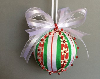 Red, White & Green Ribbon Wrapped Sequin Christmas Ornament