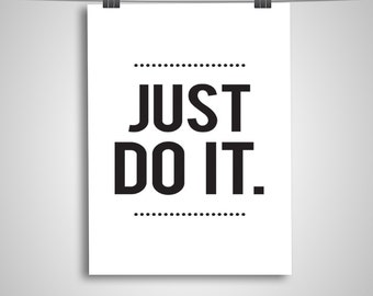 "Typography Poster ""Just Do It"" Motivational Fitness Inspirational Happy Print Wall Home Decor Wall Art"