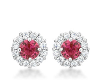 Bella Bridal Pink Earrings   Bridal Earrings with Round Cut Pink Cubic Zirconia and Post Backing