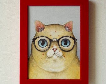 Original framed illustration on paper - Nerd cat