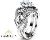 Floral Moissanite Engagement Ring Set 14K White Gold Moissanite Rings Calla Lily Design Engagement Rings