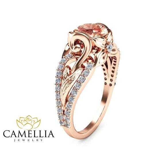 14k gold morganite engagement ring unique pink