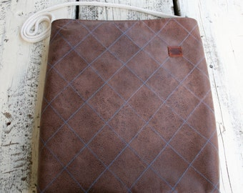 Brown leather bag with blue Plaid