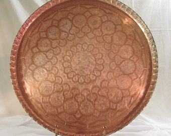 Vintage Large Hand Hammered Copper Turkish Persian Middle Eastern Tray with Crust Edge