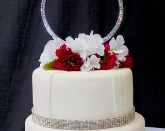 Single Extravagant Large Silver Rhinestone Wedding Ring Cake Topper by Forbes Favors