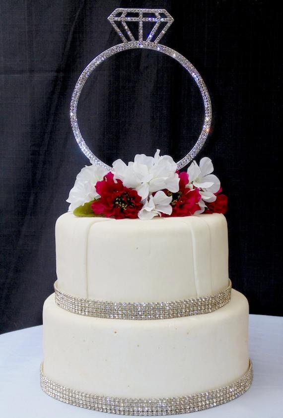 Single Extravagant Large Silver Rhinestone Wedding Ring Cake