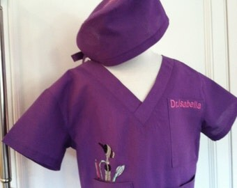 3 piece scrubs set purple