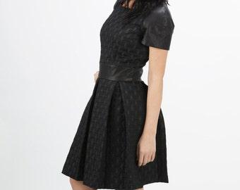 Mariam leather sleeve dress