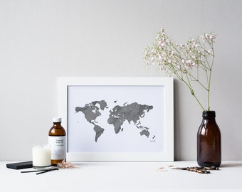 World Map Drawing Print