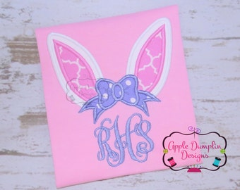 Bunny Ears with Bow Applique Design, Machine Embroidery Design, Girl Easter Applique, Easter Embroidery, Easter Basket, 4x4, 5x7, 6x10, 7x11