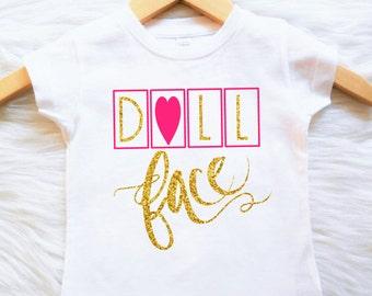 Shirt or Bodysuit dollface doll face trendy baby girls toddler stylish