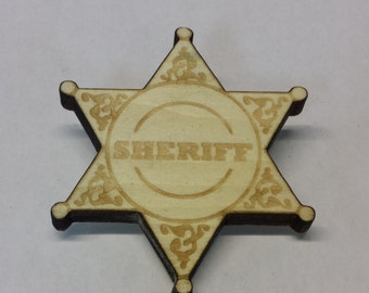 Wooden Engraved Toy Sheriff Badge - Personalize It!
