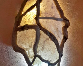 Wall lamp wood sea Poseidon. Lamp wood drift, Driftwood lamp
