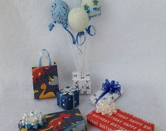 Miniature Balloons and Presents for Birthdays and Special Occasions (1/12th Dollhouse scale)