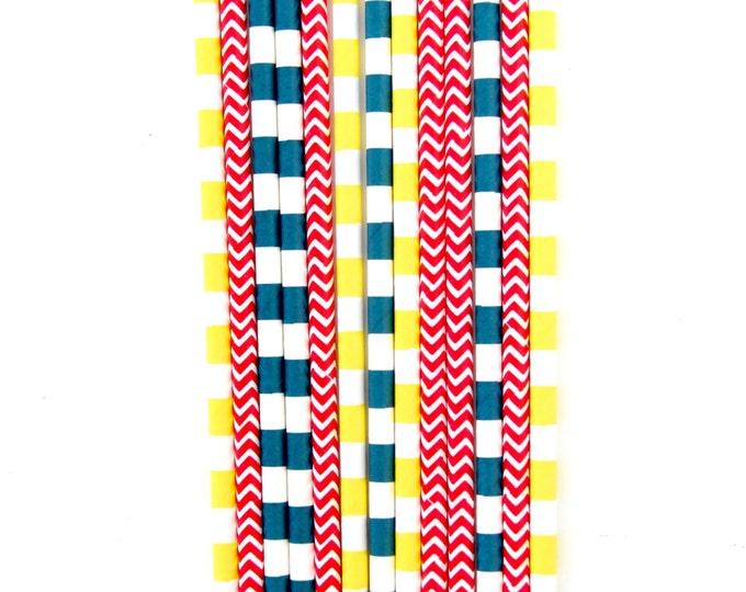 Pokemon Straw With Gold Flag, Paper Straw, Red Straw, Gold Straw Flag, Baby Shower or Wedding Straw, Straw