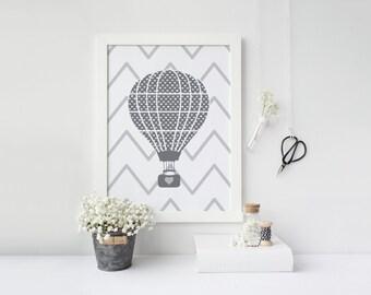 Gender neutral Nursery art - Hot air balloon - Nursery Printable - Nursery wall art  - Nursery decor - Digital download - 8x10 printable