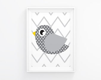 Gender neutral Nursery art - Birdie - Nursery Printable - Grey nursery - Nursery wall art  - Nursery decor - Digital download - 8x10