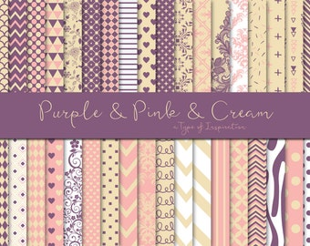 Purple pink and cream paper pack, Digital paper, Scrapbook paper, Printable paper, Instant download, Printable pattern,Gift wrap paper