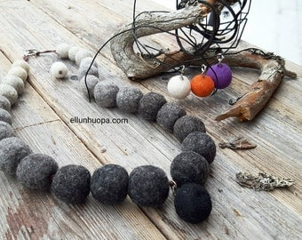 Felted Necklace / Felted Beads / Handmade / Wool / Made to order