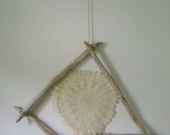 Driftwood & Vintage Doily Wall Hanging