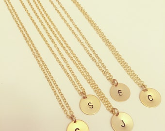 OUR BEST SELLER - Gold or Silver Plated 12mm Disc Handstamped Initial Necklace