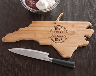 North Carolina State Shaped Cutting Board, Engraved North Carolina Shaped Cutting Board
