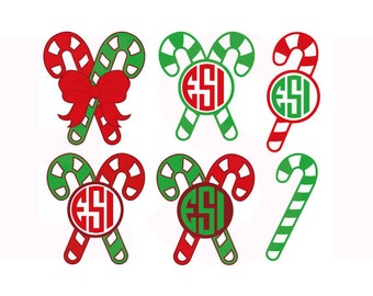 Candy cane svg, Candy Cane Monogram svg, Christmas svg files, SVG, DXF, EPS, for use with Silhouette Studio and Cricut Design Space.
