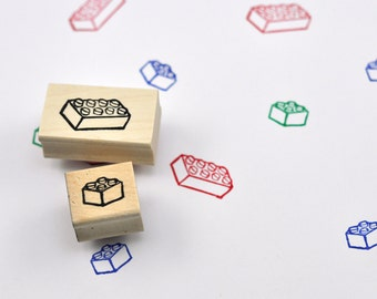Building Block Rubber Stamp Set of Two, Hand Carved Stamps