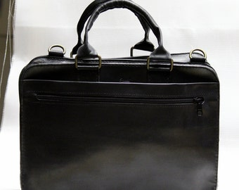 """Handmade Leather Double Zipper Briefcase - Double Zipper Binder - - carbine removable belt- made for Macbook 13"""""""