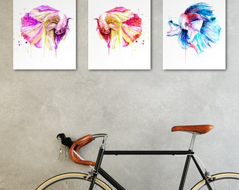 SALE - Set of 3 watercolor wall art prints - You get 35% discount