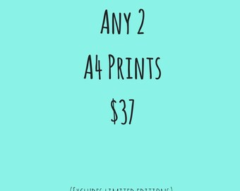Discount Offer, A4 Wall Art Prints Deal, Buy 2 and Save