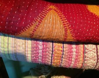 Hand stitched vintage Kantha quilts